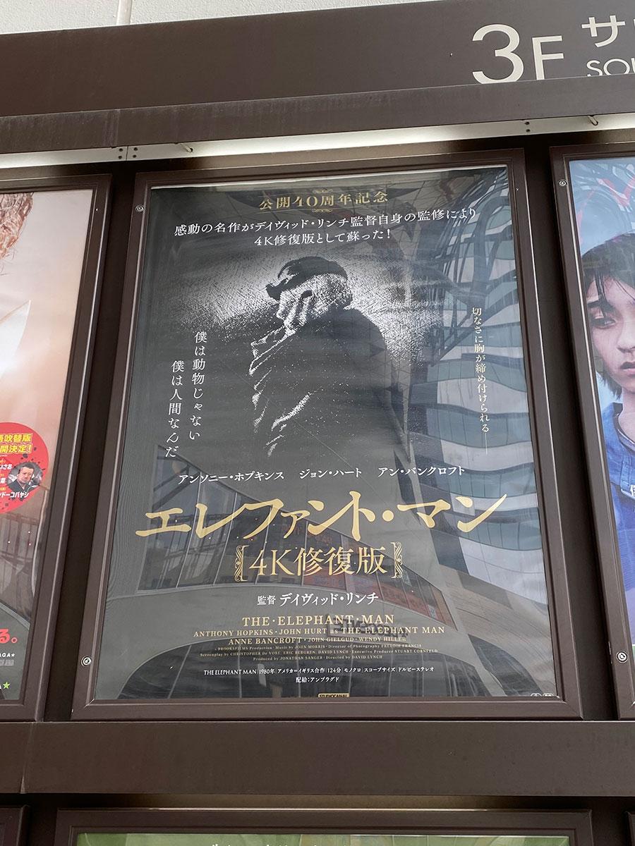 ユナイテッド・シネマ豊洲が入っているららぽーと豊洲、入口脇のスペースに展示された『エレファント・マン 4K修復版』ポスター。