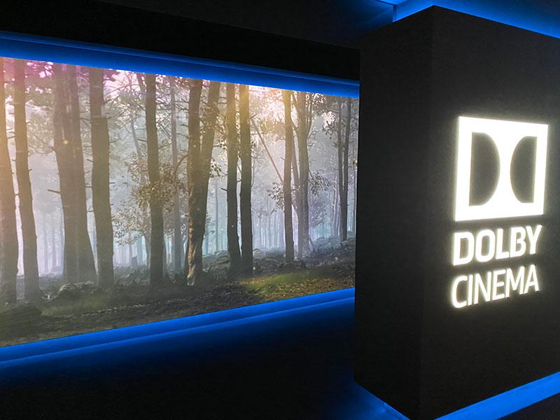丸の内ピカデリー、Dolby Cinemaスクリーン入口に投影されたイメージ映像……たぶん映画本篇とは関係ない。